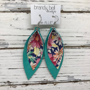 ALLIE -  Leather Earrings  ||  FLORAL ON NAVY, PEARLIZED AQUA
