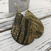 ZOEY (3 sizes available!) -  Leather Earrings  ||  BLACK WITH GOLD SAND SHOWER