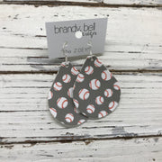 ZOEY (3 sizes available!) - FAUX Leather Earrings (Not real leather) WITH FELT BACK  ||  GRAY BASEBALL