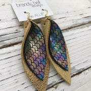 ALLIE -  Leather Earrings  ||  METALLIC ANTIQUE MERMAID, METALLIC GOLD PEBBLED