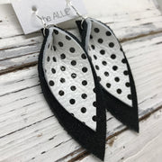 ALLIE -  Leather Earrings  ||  WHITE WITH BLACK POLKADOTS, SHIMMER BLACK