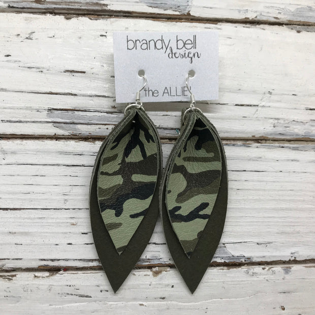 ALLIE -  Leather Earrings  ||  GREEN CAMOUFLAGE, MATTE OLIVE GREEN
