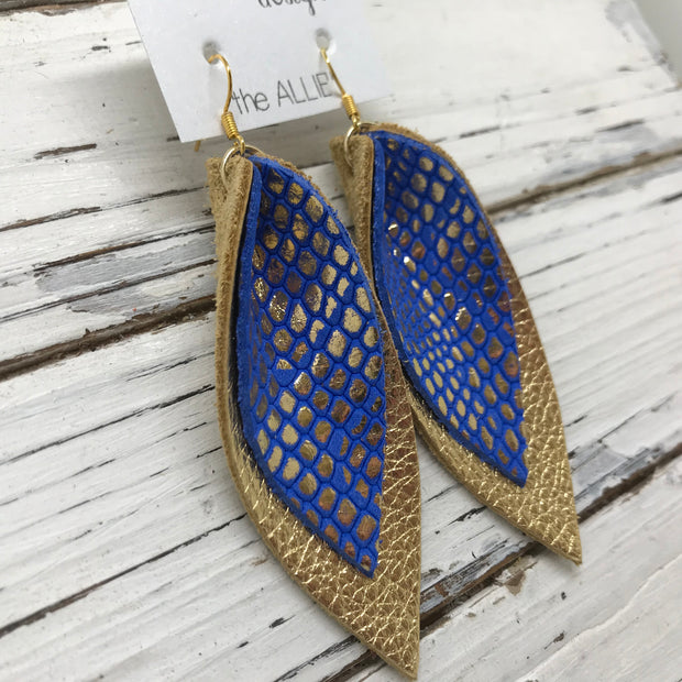 ALLIE -  Leather Earrings  ||  METALLIC GOLD ON COBALT BLUE, METALLIC GOLD PEBBLED