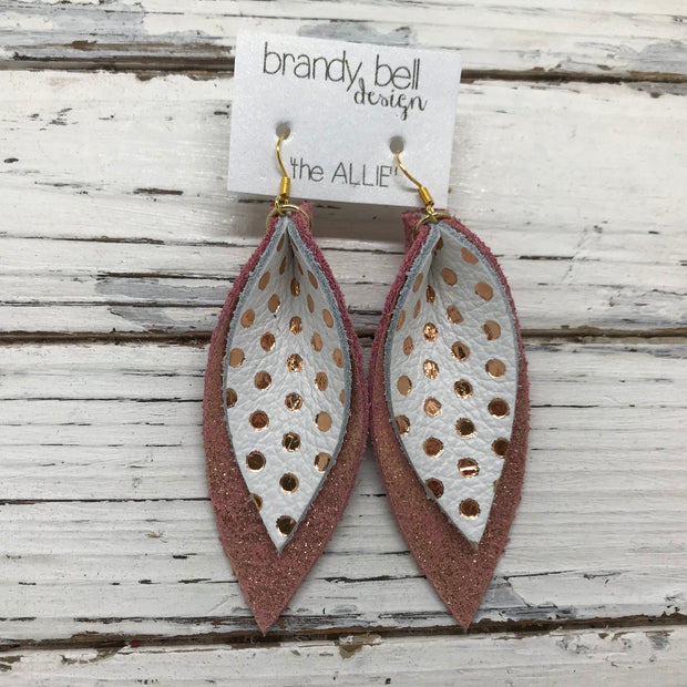 ALLIE -  Leather Earrings  ||  METALLIC ROSE GOLD POLKADOTS, SHIMMER VINTAGE PINK