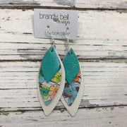 DOROTHY - Leather Earrings  || PEARLIZED AQUA, WATERCOLOR AQUA FLORAL, PEARL WHITE