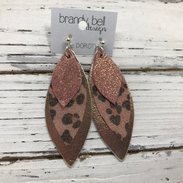 DOROTHY - Leather Earrings  || SHIMMER VINTAGE PINK, PINK CHEETAH, METALLIC ROSE GOLD