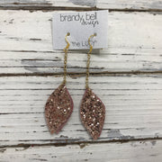 LUCY -  Leather Earrings  ||  OOAK (One of a Kind)  DOUBLE SIDED- ROSE GOLD GLITTER  (NOT LEATHER), METALLIC LIGHT PINK