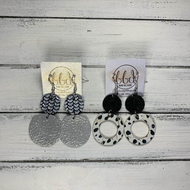 COCO -  Leather Earrings  ||  <BR> BLACK CHEETAH CORK