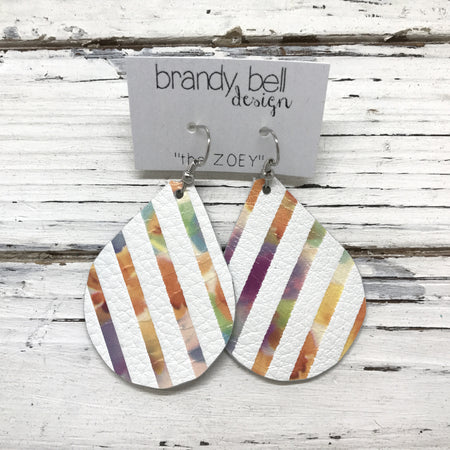 miniZOEY + ZOEY -  Leather Earrings  || MATTE WHITE WITH WATERCOLOR STRIPES