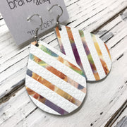 ZOEY (3 sizes available!) -  Leather Earrings  || MATTE WHITE WITH WATERCOLOR STRIPES