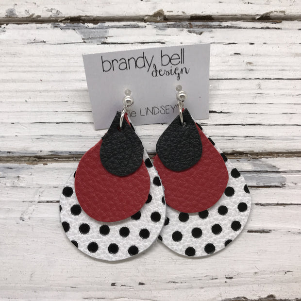 LINDSEY - Leather Earrings  || MATTE BLACK, MATTE RED, WHITE WITH BLACK POLKADOTS