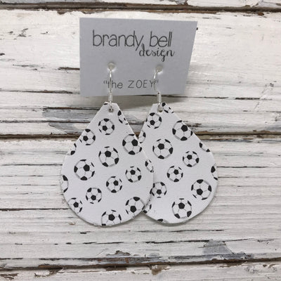 ZOEY (3 sizes available!) - FAUX Leather Earrings (Not real leather) WITH FELT BACK  ||  SOCCER BALLS