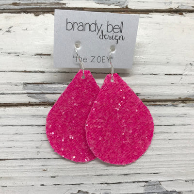 ZOEY (3 sizes available!) - GLITTER Earrings (Not real leather)   ||  NEON PINK