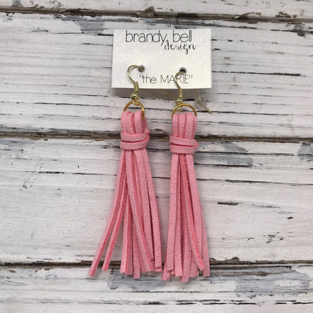 MARIE - Faux Suede Tassel Earrings  || LIGHT PINK