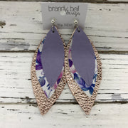 INDIA - Leather Earrings  ||  MATTE LAVENDER, PURPLE & BLUE FLORAL, METALLIC ROSE GOLD PEBBLED