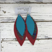 INDIA - Leather Earrings  ||  MATTE TEAL, MULTICOLOR STRIPE, MATTE RED