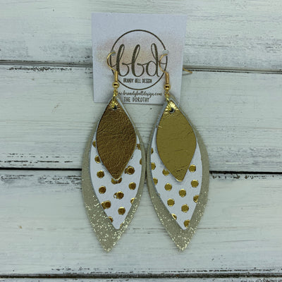 DOROTHY - Leather Earrings  ||  <BR> METALLIC GOLD SMOOTH,   <BR> METALLIC GOLD POLKADOTS ON WHITE, <BR> SHIMMER GOLD