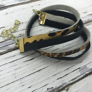 WRAP BRACELET - SPENCER ||    Handmade by Brandy Bell Design ||  MATTE BLACK / METALLIC CHEETAH PRINT