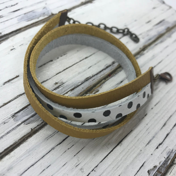 WRAP BRACELET - SPENCER ||    Handmade by Brandy Bell Design ||  MATTE MUSTARD YELLOW / WHITE WITH BLACK POLKADOTS