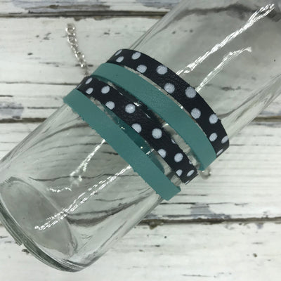 WRAP BRACELET - SPENCER ||    Handmade by Brandy Bell Design ||  DUSTY AQUA / BLACK WITH WHITE POLKADOTS