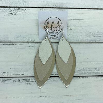 DOROTHY - Leather Earrings  ||  <BR> WHITE PEARL,   <BR> CHAMPAGNE PEARL, <BR> METALLIC CHAMPAGNE SMOOTH