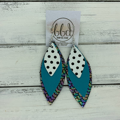 DOROTHY - Leather Earrings  ||  <BR> BLACK & WHITE POLKADOTS,   <BR> MATTE TEAL, <BR> METALLIC ANTIQUE MERMAID