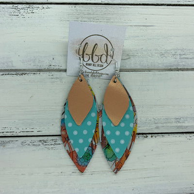 DOROTHY - Leather Earrings  ||  <BR> PEARLIZED PEACH,   <BR> AQUA WITH WHITE POLKADOTS , <BR> WATERCOLOR FLORAL