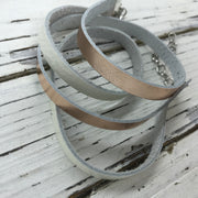WRAP BRACELET - SPENCER ||    Handmade by Brandy Bell Design ||  METALLIC ROSE GOLD / PEARL WHITE