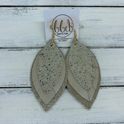 GINGER - Leather Earrings  ||  <BR>  IVORY STINGRAY, <BR>CHAMPAGNE PEARL,  <BR> SHIMMER TAUPE