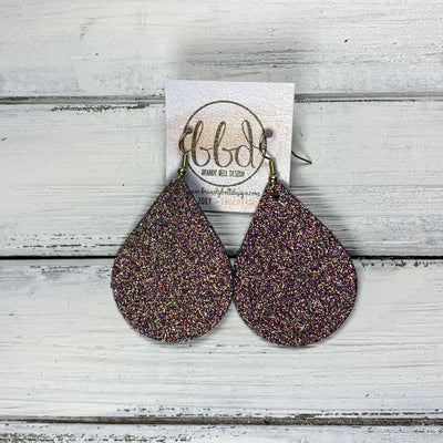 ZOEY (3 sizes available!) -  Leather Earrings  ||   COPPER GLISTEN GLITTER (FAUX LEATHER)