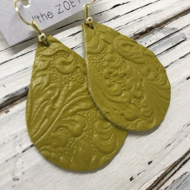 ZOEY (3 sizes available!) -  Leather Earrings  || DARK YELLOW WITH EMBOSSED FLORAL