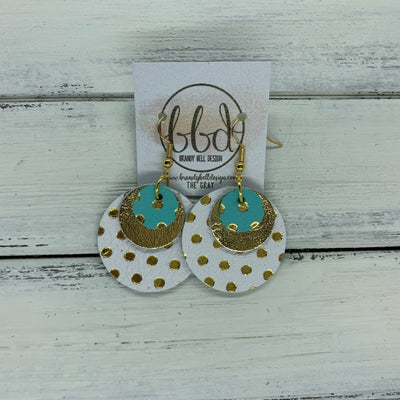 GRAY - Leather Earrings  ||    <BR> AQUA WITH GOLD POLKADOTS, <BR> METALLIC GOLD,  <BR> WHITE WITH GOLD POLKADOTS