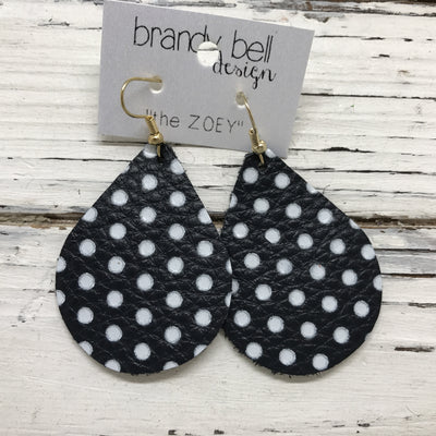 ZOEY (3 sizes available!) -  Leather Earrings  || VERY DARK NAVY WITH WHITE POLKADOTS