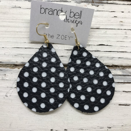 miniZOEY + ZOEY -  Leather Earrings  || VERY DARK NAVY WITH WHITE POLKADOTS