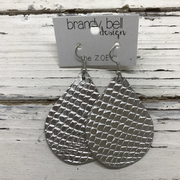 ZOEY (3 sizes available!) -  Leather Earrings  || METALLIC SILVER COBRA