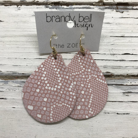 miniZOEY + ZOEY -  Leather Earrings  || PINK WITH WHITE
