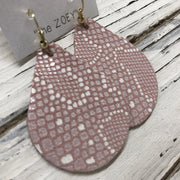 ZOEY (3 sizes available!) -  Leather Earrings  || PINK WITH WHITE