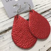 ZOEY (3 sizes available!) -  Leather Earrings  || METALLIC BRIGHT RED TEXTURE