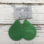 ZOEY (3 sizes available!) -  Leather Earrings  || METALLIC BRIGHT GREEN TEXTURE
