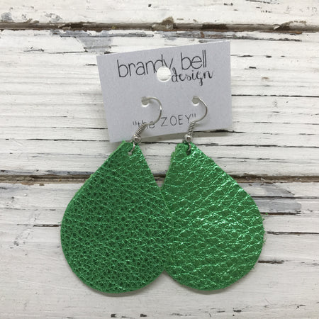 miniZOEY + ZOEY -  Leather Earrings  || METALLIC BRIGHT GREEN TEXTURE