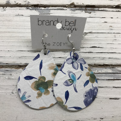 ZOEY (3 sizes available!) -  Leather Earrings  || MINI FLORAL ON WHITE