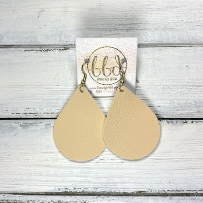 ZOEY (3 sizes available!) -  Leather Earrings  ||  <BR>  MATTE IVORY  (FAUX LEATHER)