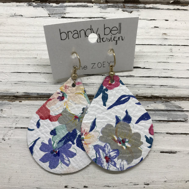 ZOEY (3 sizes available!) -  Leather Earrings  || COBALT BLUE FLORAL ON WHITE