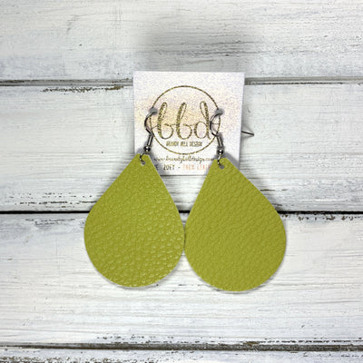 ZOEY (3 sizes available!) -  Leather Earrings  ||  <BR>  MATTE CHARTREUSE   (FAUX LEATHER)