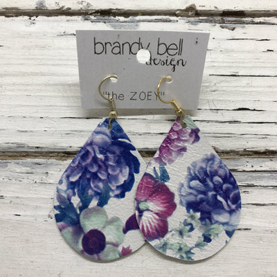 ZOEY (3 sizes available!) -  Leather Earrings  || BLUE/PURPLE FLORAL ON WHITE