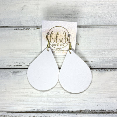 ZOEY (3 sizes available!) -  Leather Earrings  ||  <BR>  MATTE WHITE (FAUX LEATHER)