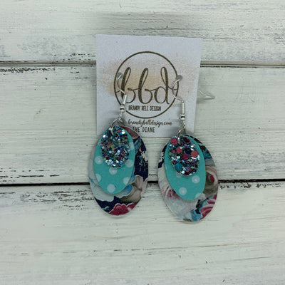 DIANE - Leather Earrings  ||    <BR> MERMAID GLITTER (NOT REAL LEATHER) , <BR> AQUA WITH WHITE POLKADOTS, <BR> VINTAGE FLORAL