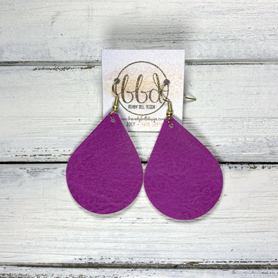 ZOEY (3 sizes available!) -  Leather Earrings  ||  <BR>  ORCHID PURPLE (FAUX LEATHER)
