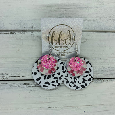 GRAY - Leather Earrings  ||    <BR> BUBBLEGUM PINK GLITTER (FAUX LEATHER), <BR> MINI PINK FLORAL ON WHITE,  <BR> BLACK & WHITE CHEETAH PRINT