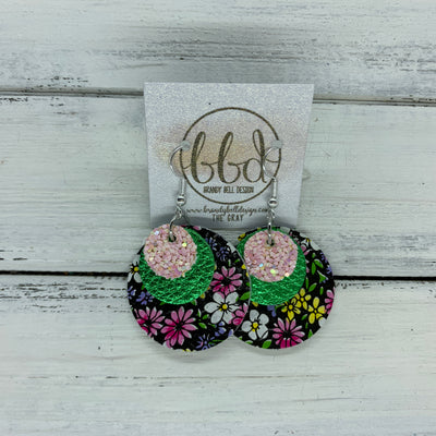 GRAY - Leather Earrings  ||    <BR> BALLET SLIPPER GLITTER (FAUX LEATHER), <BR> METALLIC GREEN PEBBLED,  <BR> MINI PINK & PURPLE FLORAL ON BLACK